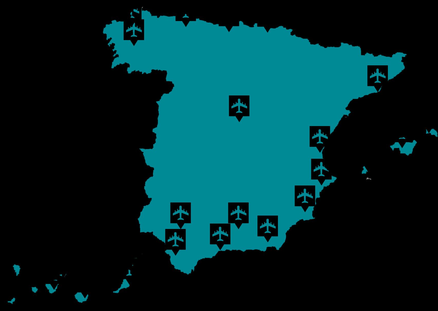Mapa de los aeropuertos en el proyecto STAR Éxico